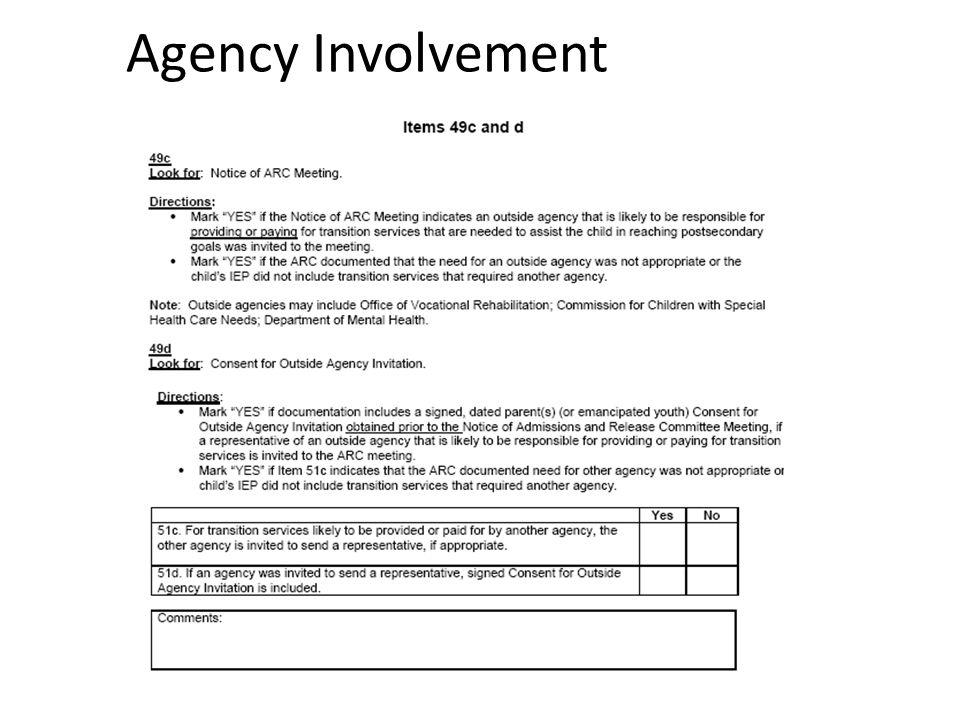 Agency Involvement