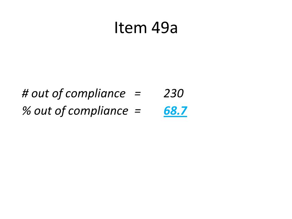 Item 49a n = 335 # out of compliance=230 % out of compliance = 68.7  Language not measurable  Goal as written did not contain required components