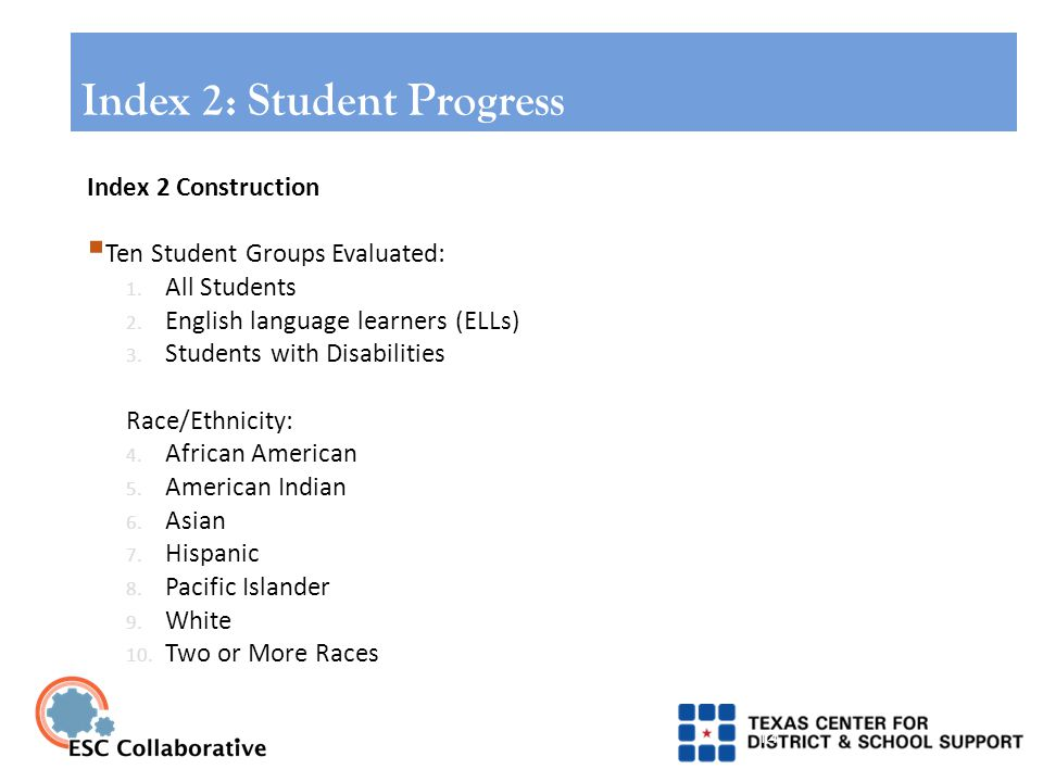14 Index 2 Construction  Ten Student Groups Evaluated: 1.