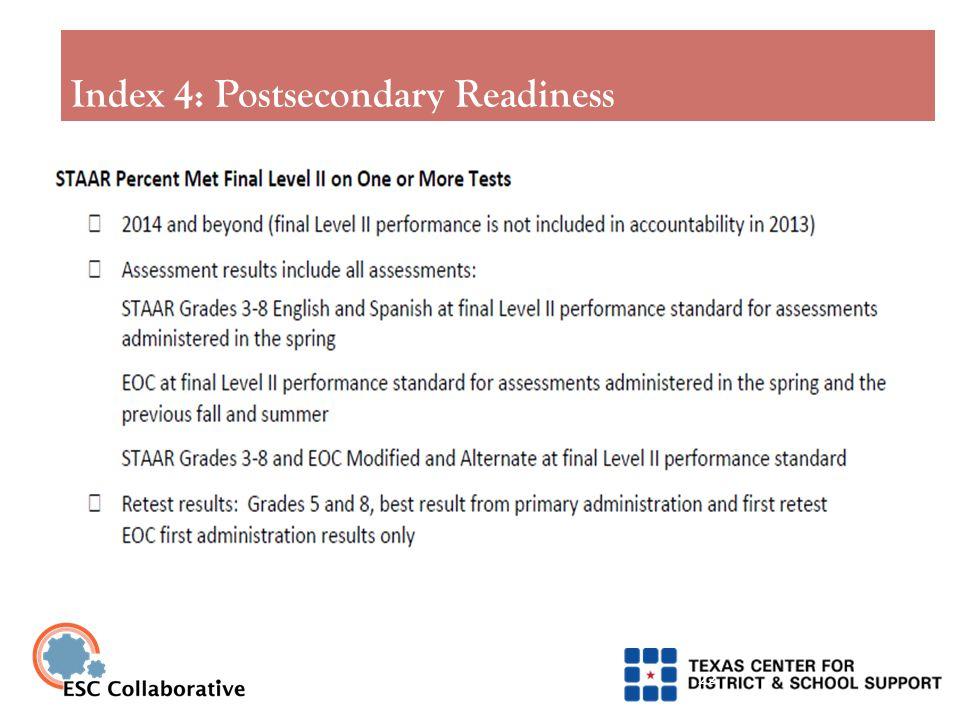 Index 4: Postsecondary Readiness 22