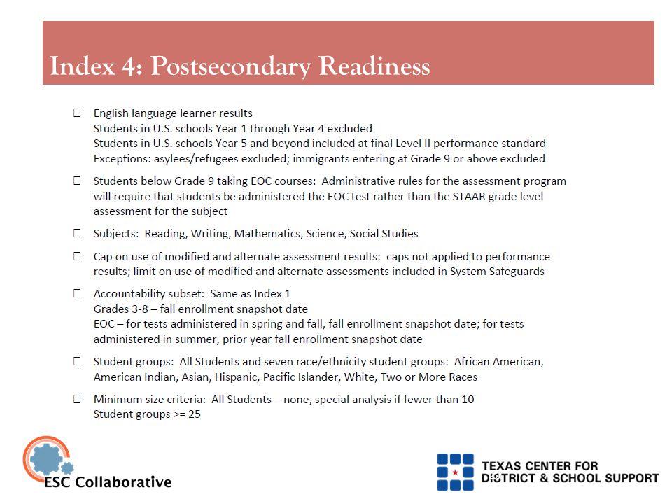 Index 4: Postsecondary Readiness 23