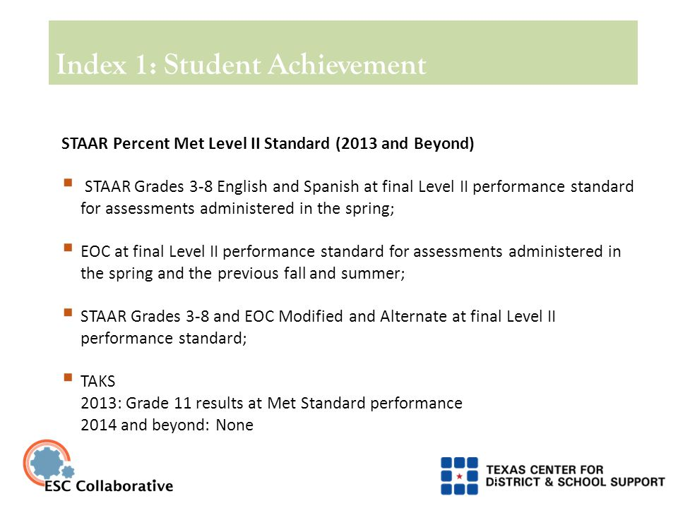 Index 3: Closing Performance Gaps 19 Index 3 Construction  Assessment results include all assessments that are included in the Index 1 student achievement indicator.