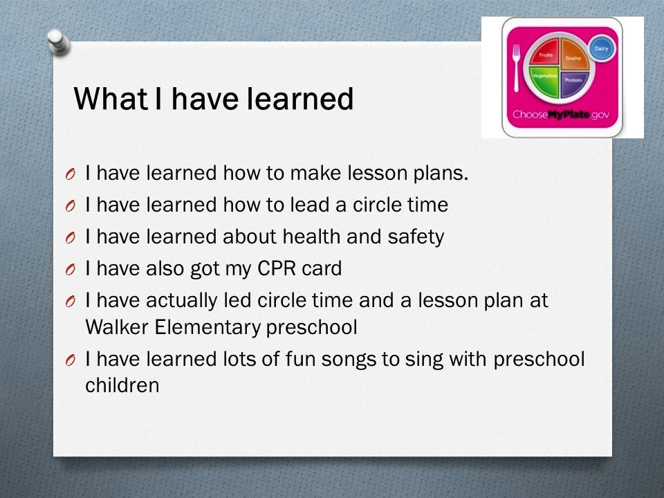What I have learned O I have learned how to make lesson plans.