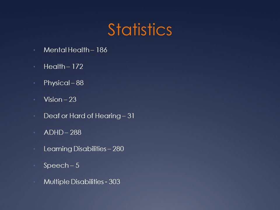 Statistics Mental Health – 186 Health – 172 Physical – 88 Vision – 23 Deaf or Hard of Hearing – 31 ADHD – 288 Learning Disabilities – 280 Speech – 5 M