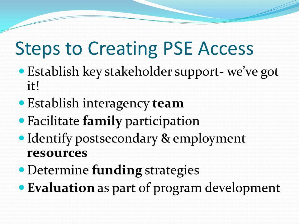 Steps to Creating PSE Access Establish key stakeholder support- we've got it.