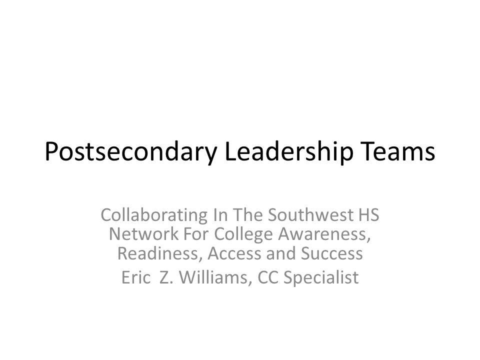 Objectives Define Postsecondary Leadership Teams (PLTs) Describe PLTs or PSLTs