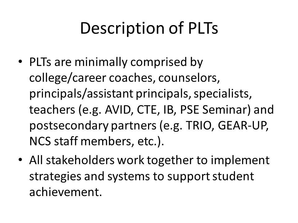 Students District AdministrationParents CoachesTrio/ETS Programs Colleges & Universities Counselors Teachers PLT Description Continued