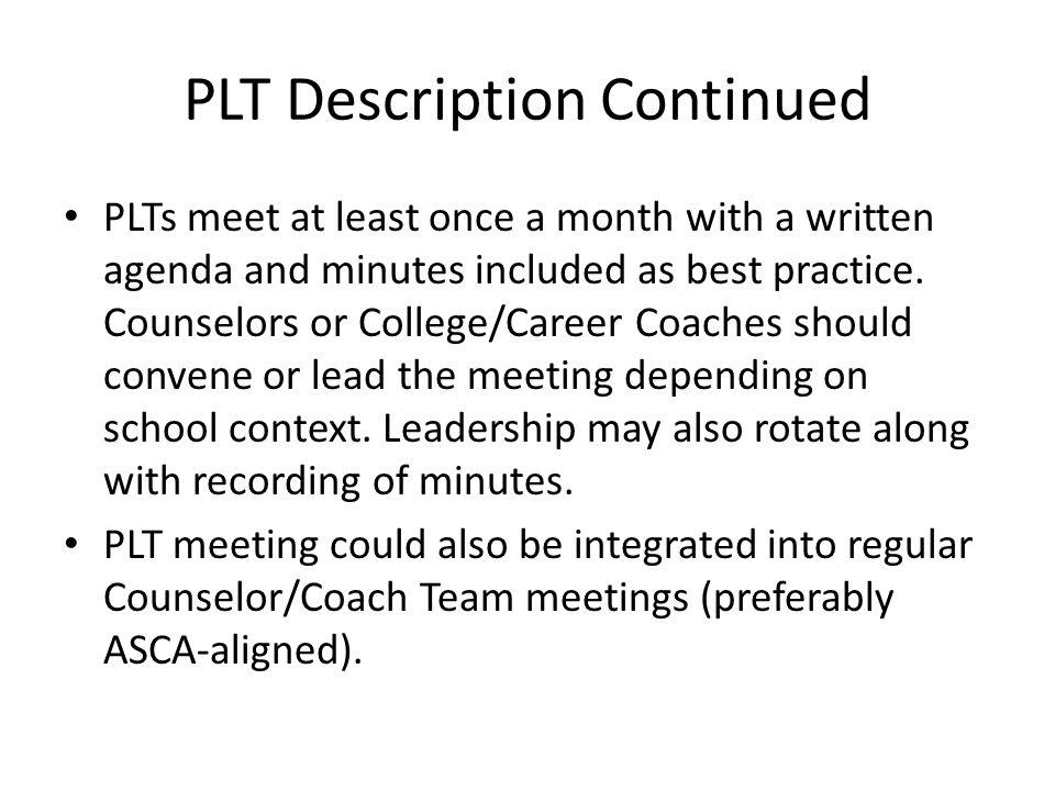 PLT Description Continued PLTs should establish Team Norms (e.g.