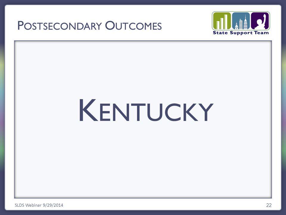 K ENTUCKY SLDS Webinar 9/29/2014 22 P OSTSECONDARY O UTCOMES