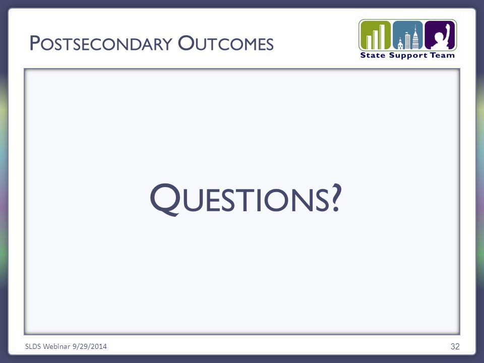 Q UESTIONS ? SLDS Webinar 9/29/2014 32 P OSTSECONDARY O UTCOMES