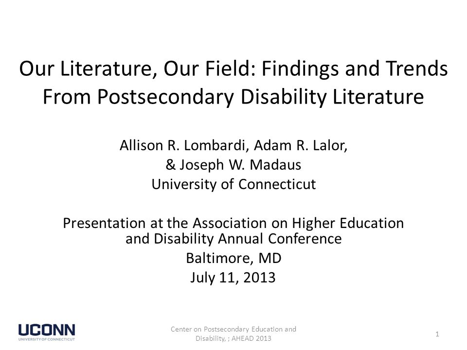 Journals with the Highest Frequency of Construct Development-Level Articles Unique Journals: 70 Center on Postsecondary Education and Disability, ; AHEAD 2013 32