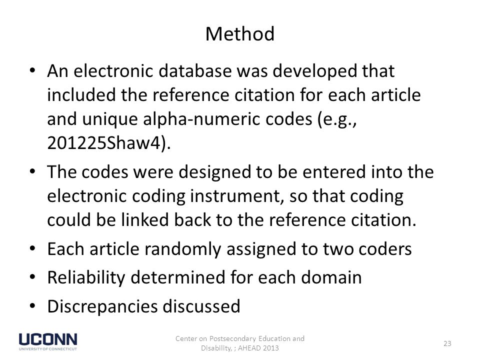 Method An electronic database was developed that included the reference citation for each article and unique alpha-numeric codes (e.g., 201225Shaw4).