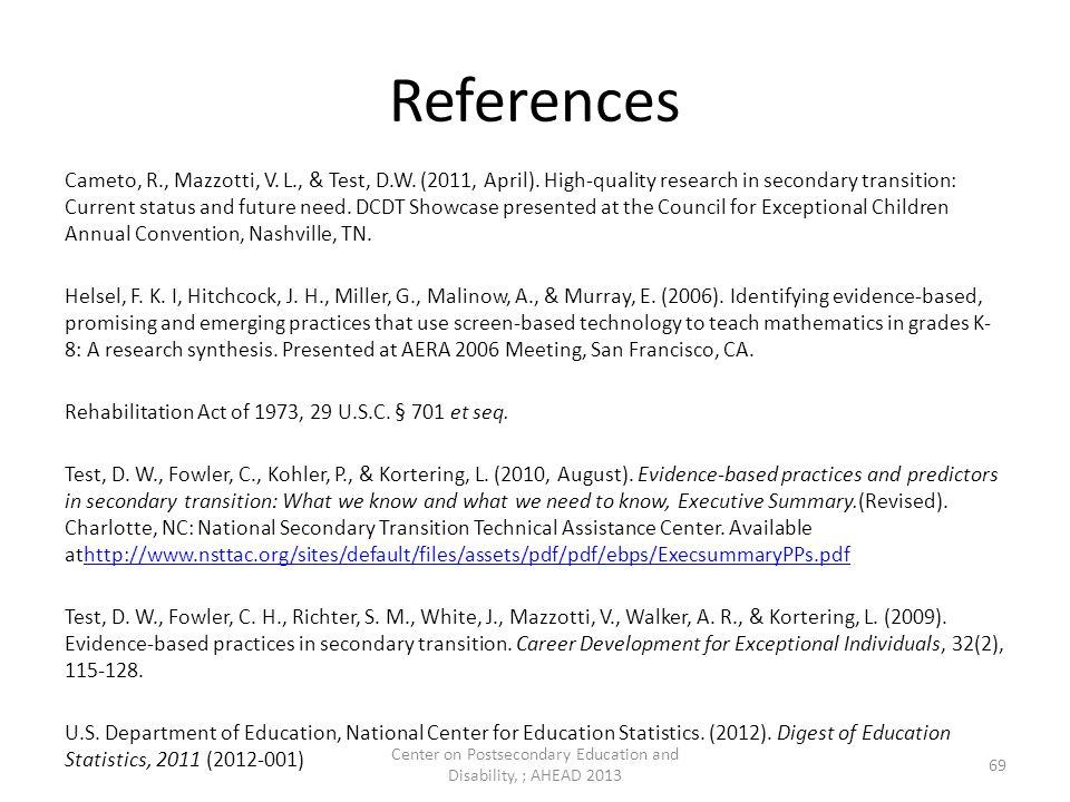 References Cameto, R., Mazzotti, V. L., & Test, D.W.