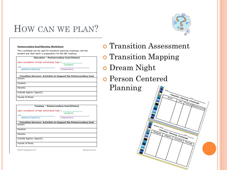 H OW CAN WE PLAN ? Transition Assessment Transition Mapping Dream Night Person Centered Planning
