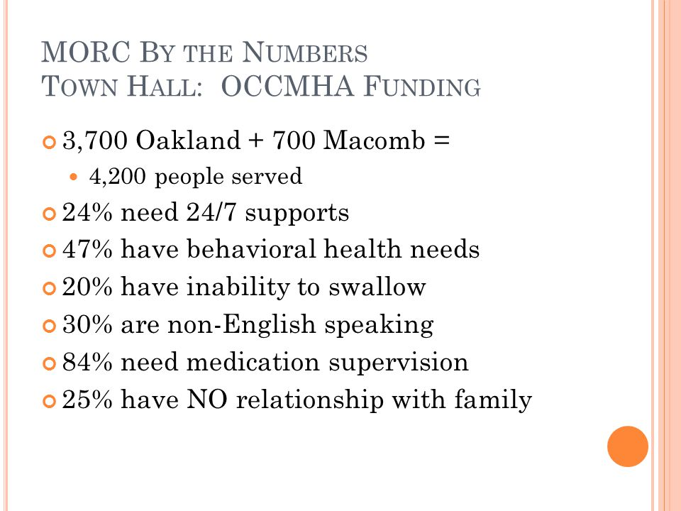 MORC B Y THE N UMBERS T OWN H ALL : OCCMHA F UNDING 3,700 Oakland + 700 Macomb = 4,200 people served 24% need 24/7 supports 47% have behavioral health needs 20% have inability to swallow 30% are non-English speaking 84% need medication supervision 25% have NO relationship with family