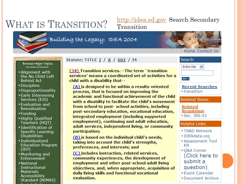 W HAT IS T RANSITION ? http://idea.ed.govhttp://idea.ed.gov Search Secondary Transition