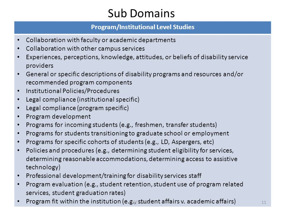 Sub Domains Program/Institutional Level Studies Collaboration with faculty or academic departments Collaboration with other campus services Experiences, perceptions, knowledge, attitudes, or beliefs of disability service providers General or specific descriptions of disability programs and resources and/or recommended program components Institutional Policies/Procedures Legal compliance (institutional specific) Legal compliance (program specific) Program development Programs for incoming students (e.g., freshmen, transfer students) Programs for students transitioning to graduate school or employment Programs for specific cohorts of students (e.g., LD, Aspergers, etc) Policies and procedures (e.g., determining student eligibility for services, determining reasonable accommodations, determining access to assistive technology) Professional development/training for disability services staff Program evaluation (e.g., student retention, student use of program related services, student graduation rates) Program fit within the institution (e.g., student affairs v.