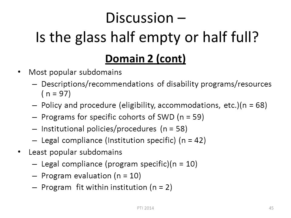 Discussion – Is the glass half empty or half full? Domain 2 (cont) Most popular subdomains – Descriptions/recommendations of disability programs/resou
