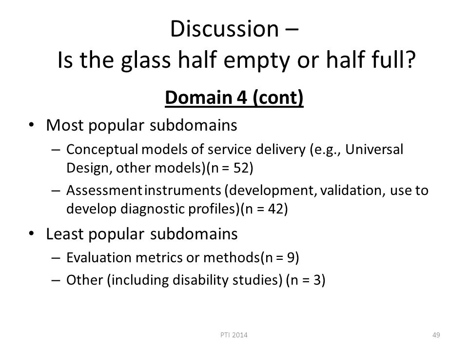 Discussion – Is the glass half empty or half full.