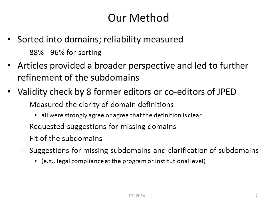 Our Method Sorted into domains; reliability measured – 88% - 96% for sorting Articles provided a broader perspective and led to further refinement of