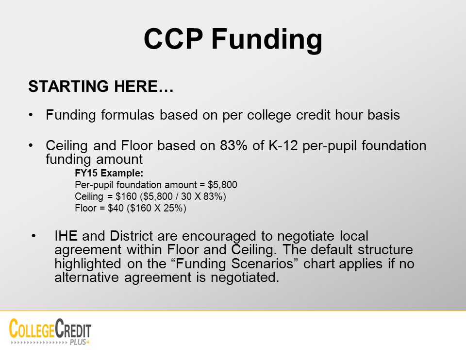 CCP Funding STARTING HERE… Funding formulas based on per college credit hour basis Ceiling and Floor based on 83% of K-12 per-pupil foundation funding amount FY15 Example: Per-pupil foundation amount = $5,800 Ceiling = $160 ($5,800 / 30 X 83%) Floor = $40 ($160 X 25%) IHE and District are encouraged to negotiate local agreement within Floor and Ceiling.