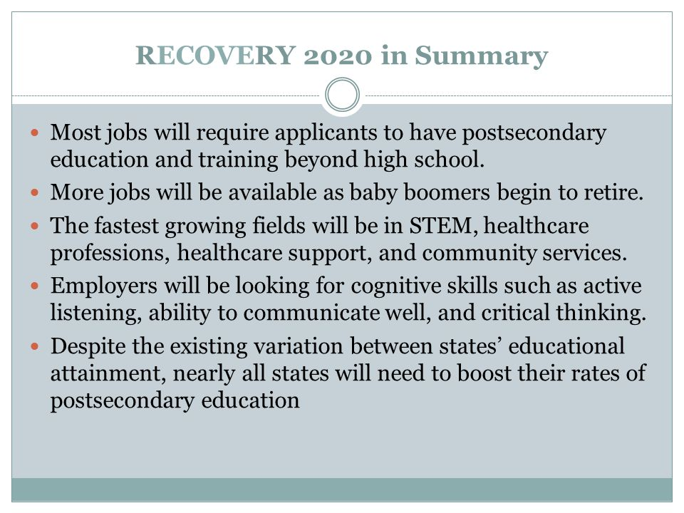 RECOVERY 2020 in Summary Most jobs will require applicants to have postsecondary education and training beyond high school.