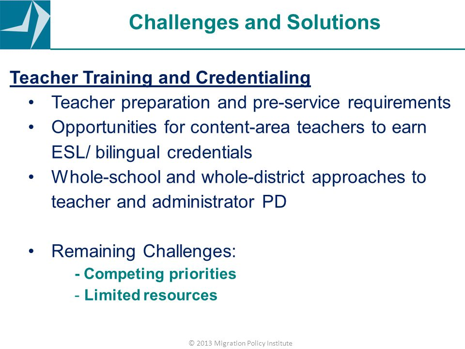 Challenges and Solutions Teacher Training and Credentialing Teacher preparation and pre-service requirements Opportunities for content-area teachers t