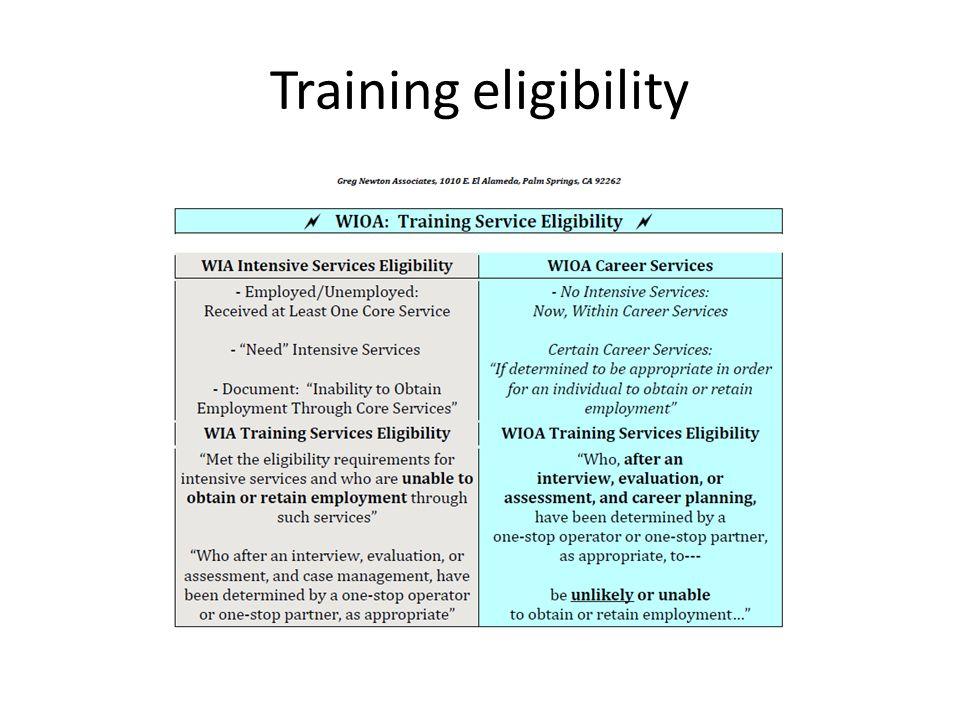 Training eligibility