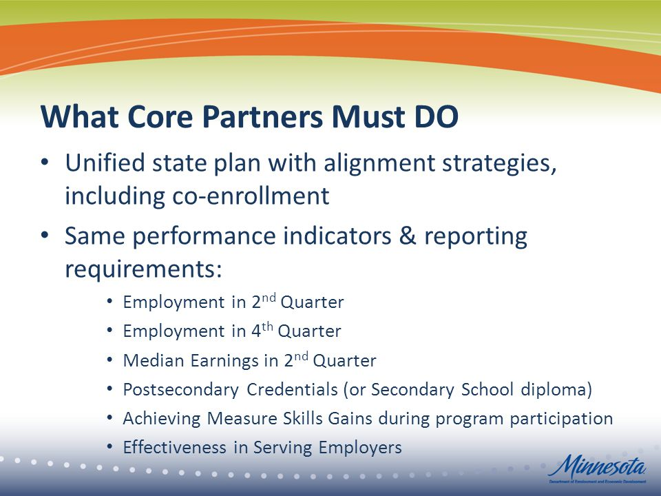 What Core Partners Must DO Unified state plan with alignment strategies, including co-enrollment Same performance indicators & reporting requirements: