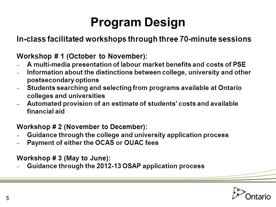 Program Design In-class facilitated workshops through three 70-minute sessions Workshop # 1 (October to November): – A multi-media presentation of labour market benefits and costs of PSE – Information about the distinctions between college, university and other postsecondary options – Students searching and selecting from programs available at Ontario colleges and universities – Automated provision of an estimate of students costs and available financial aid Workshop # 2 (November to December): – Guidance through the college and university application process – Payment of either the OCAS or OUAC fees Workshop # 3 (May to June): – Guidance through the 2012-13 OSAP application process 5