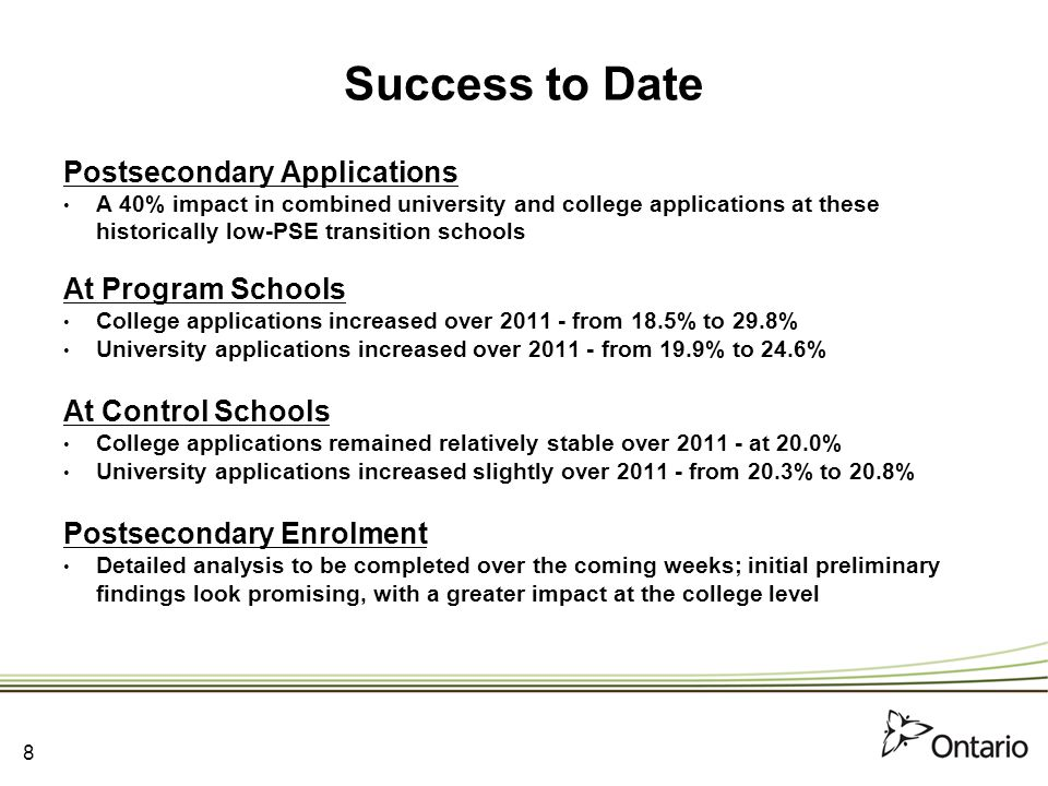 Success to Date Postsecondary Applications A 40% impact in combined university and college applications at these historically low-PSE transition schools At Program Schools College applications increased over 2011 - from 18.5% to 29.8% University applications increased over 2011 - from 19.9% to 24.6% At Control Schools College applications remained relatively stable over 2011 - at 20.0% University applications increased slightly over 2011 - from 20.3% to 20.8% Postsecondary Enrolment Detailed analysis to be completed over the coming weeks; initial preliminary findings look promising, with a greater impact at the college level 8