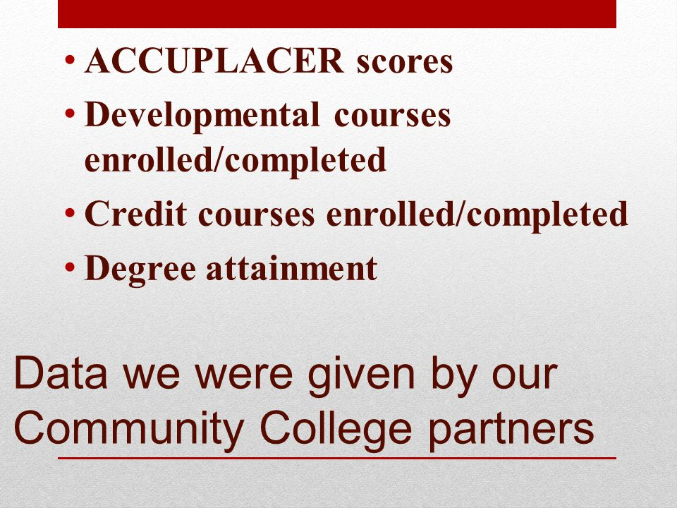 Data we were given by our Community College partners ACCUPLACER scores Developmental courses enrolled/completed Credit courses enrolled/completed Degree attainment