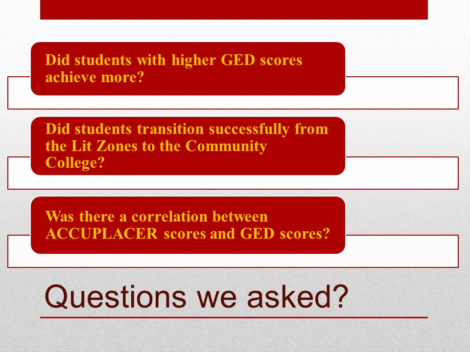 Questions we asked. Did students with higher GED scores achieve more.