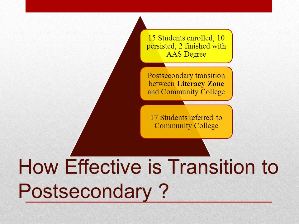 How Effective is Transition to Postsecondary .