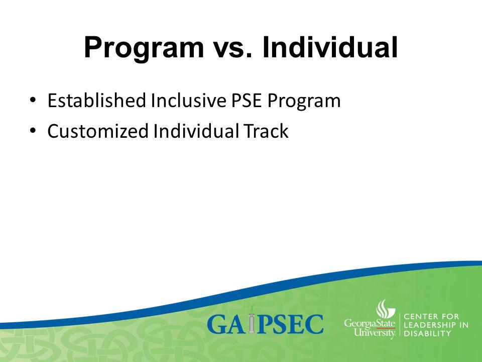 Program vs. Individual Established Inclusive PSE Program Customized Individual Track