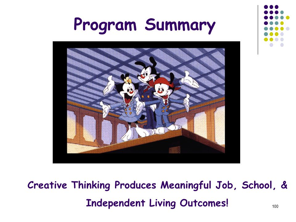 100 Program Summary Creative Thinking Produces Meaningful Job, School, & Independent Living Outcomes!