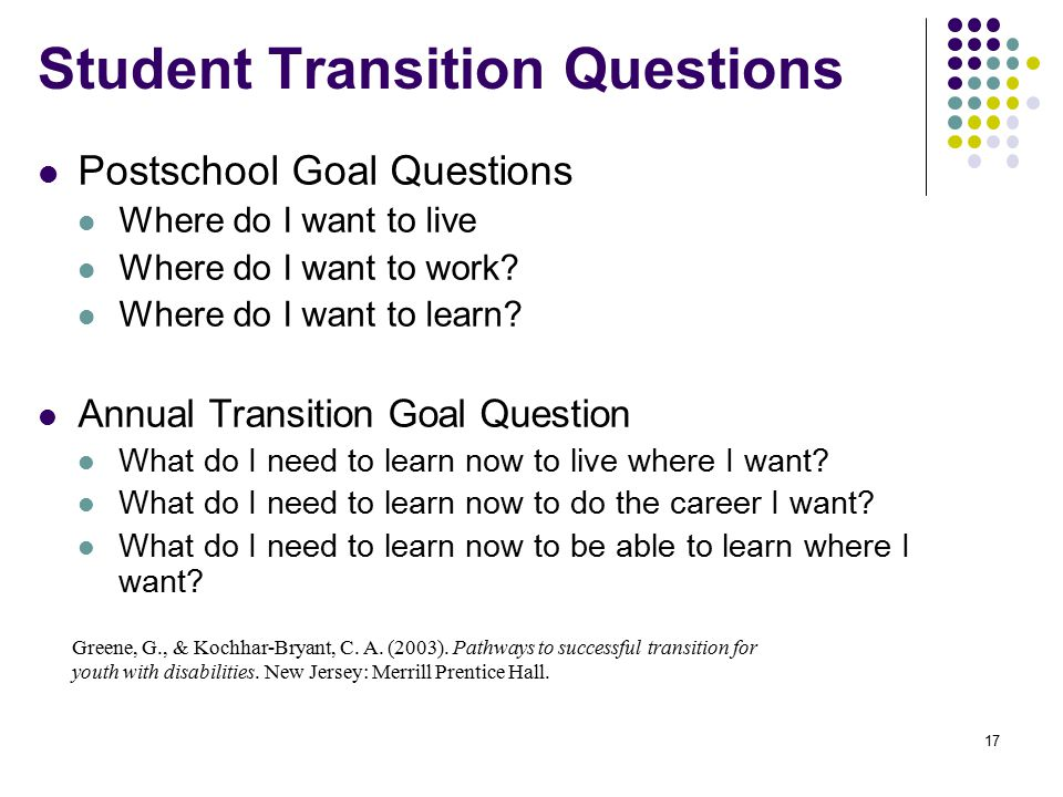 Student Transition Questions Postschool Goal Questions Where do I want to live Where do I want to work.