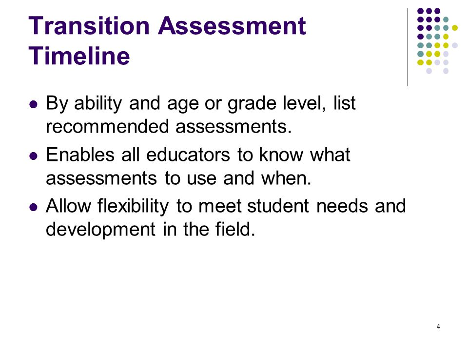 Transition Assessment Timeline By ability and age or grade level, list recommended assessments.