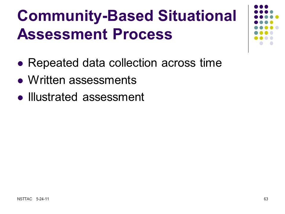 Community-Based Situational Assessment Process Repeated data collection across time Written assessments Illustrated assessment NSTTAC 5-24-1163