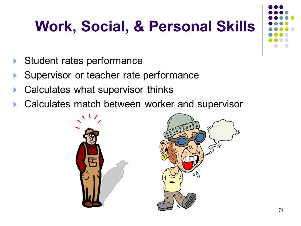 Work, Social, & Personal Skills  Student rates performance  Supervisor or teacher rate performance  Calculates what supervisor thinks  Calculates match between worker and supervisor 74