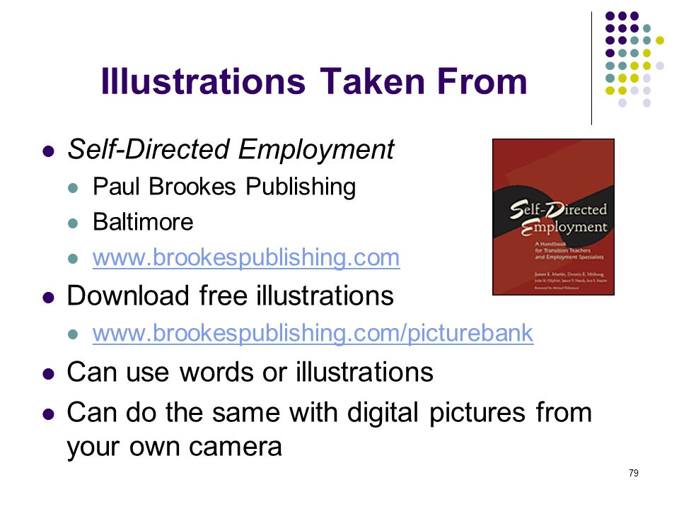 79 Illustrations Taken From Self-Directed Employment Paul Brookes Publishing Baltimore www.brookespublishing.com Download free illustrations www.brookespublishing.com/picturebank Can use words or illustrations Can do the same with digital pictures from your own camera