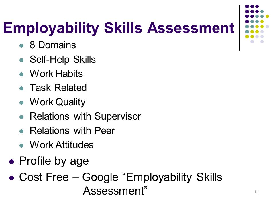 Employability Skills Assessment 8 Domains Self-Help Skills Work Habits Task Related Work Quality Relations with Supervisor Relations with Peer Work Attitudes Profile by age Cost Free – Google Employability Skills Assessment 84