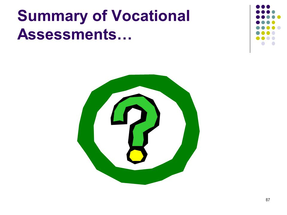 Summary of Vocational Assessments… 87