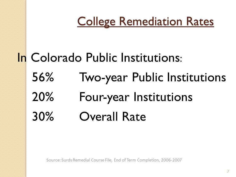 In Colorado Public Institutions : 56% Two-year Public Institutions 20%Four-year Institutions 30% Overall Rate 7 College Remediation Rates Source: Surds Remedial Course File, End of Term Completion, 2006-2007