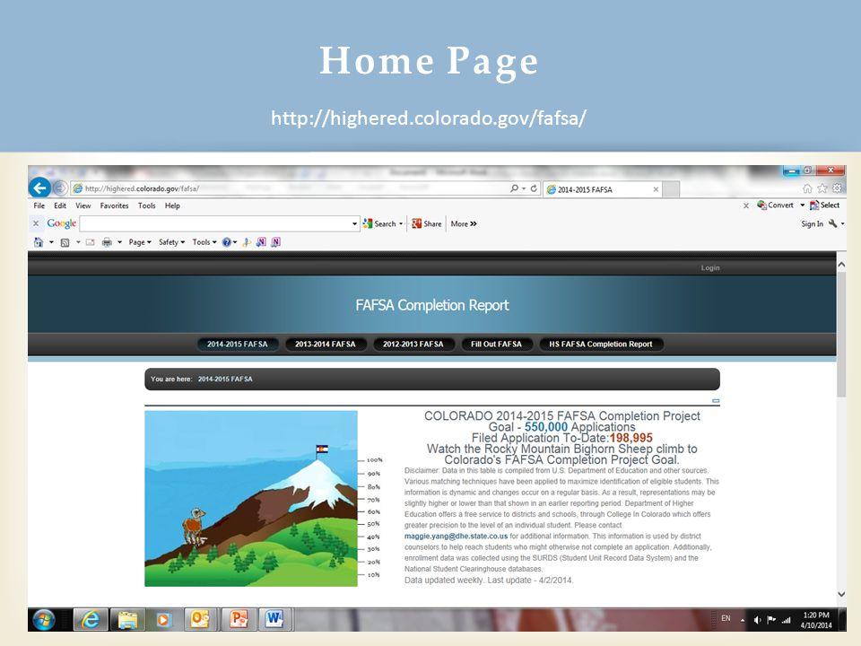 Home Page 20 http://highered.colorado.gov/fafsa/