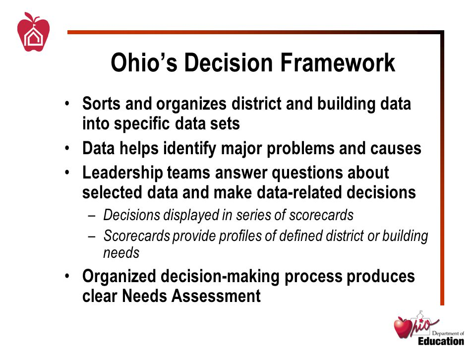 Ohio's Decision Framework Sorts and organizes district and building data into specific data sets Data helps identify major problems and causes Leadership teams answer questions about selected data and make data-related decisions – Decisions displayed in series of scorecards – Scorecards provide profiles of defined district or building needs Organized decision-making process produces clear Needs Assessment