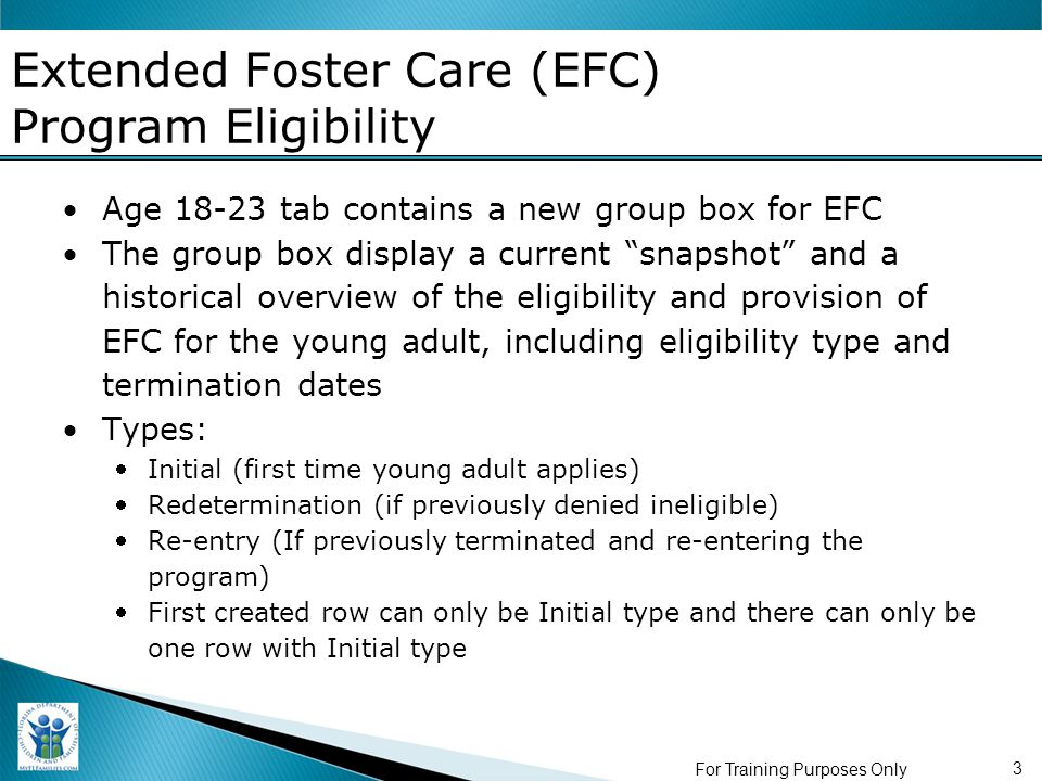 3 Extended Foster Care (EFC) Program Eligibility Age 18-23 tab contains a new group box for EFC The group box display a current snapshot and a historical overview of the eligibility and provision of EFC for the young adult, including eligibility type and termination dates Types: Initial (first time young adult applies) Redetermination (if previously denied ineligible) Re-entry (If previously terminated and re-entering the program) First created row can only be Initial type and there can only be one row with Initial type