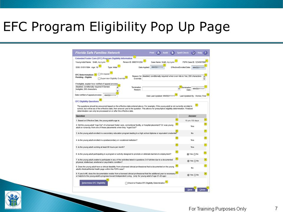 EFC Program Eligibility Pop Up Page For Training Purposes Only 7