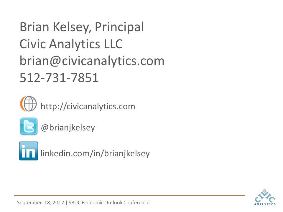 September 18, 2012 | SBDC Economic Outlook Conference @brianjkelsey http://civicanalytics.com linkedin.com/in/brianjkelsey Brian Kelsey, Principal Civic Analytics LLC brian@civicanalytics.com 512-731-7851