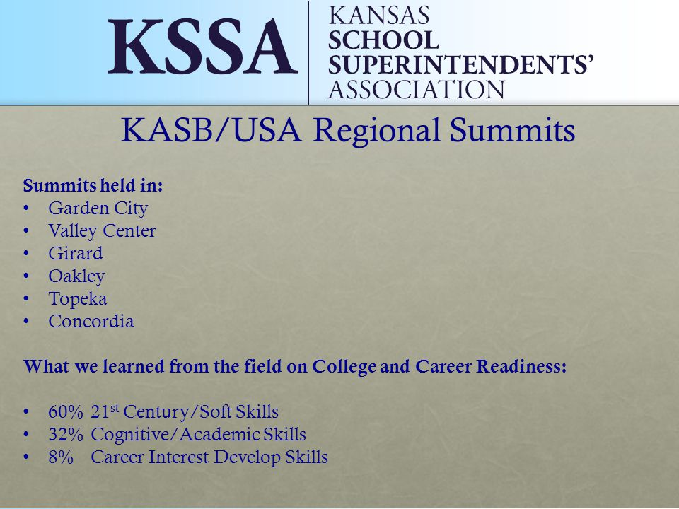 KASB/USA Regional Summits Summits held in: Garden City Valley Center Girard Oakley Topeka Concordia What we learned from the field on College and Career Readiness: 60% 21 st Century/Soft Skills 32% Cognitive/Academic Skills 8%Career Interest Develop Skills
